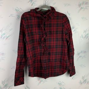 Lauren Ralph Lauren Red Black Plaid Button Down